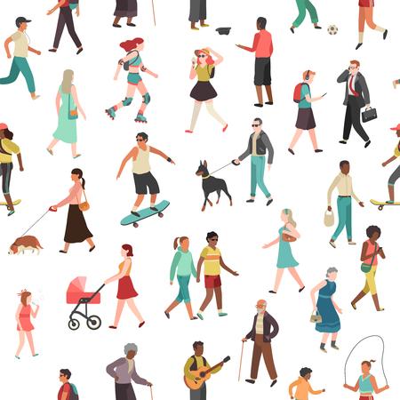 Personnes marchant modèle sans couture. Femmes hommes enfants groupe personne marche ville foule parc familial activité de plein air, fond de vecteur plat