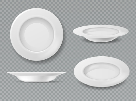 Food white plate. Empty plate top view dish bowl side view kitchen meal breakfast ceramic cooking porcelain isolated set
