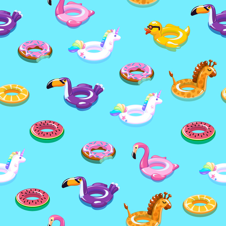Swimming toys seamless pattern. Pool floating summer inflatable toy sea print float kid fashion textile print vector cartoon