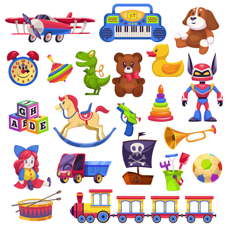 Kids toys set. Toy kid child preschool house baby game ball train yacht horse doll duck boat plane bear car pyramid flat vector collection Illustration