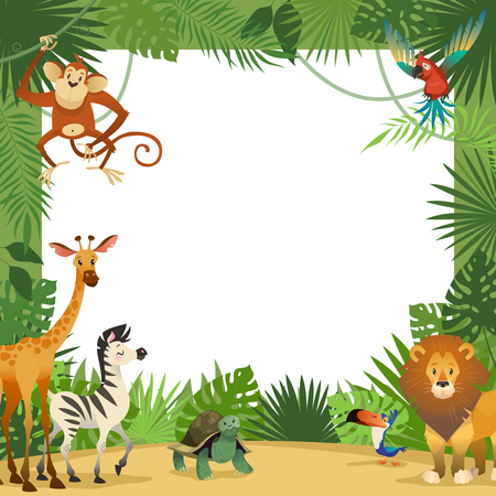 Jungle animals card. Frame animal tropical leaves greeting baby banner zoo border template party children, cartoon vector illustration Foto de archivo - 124790473