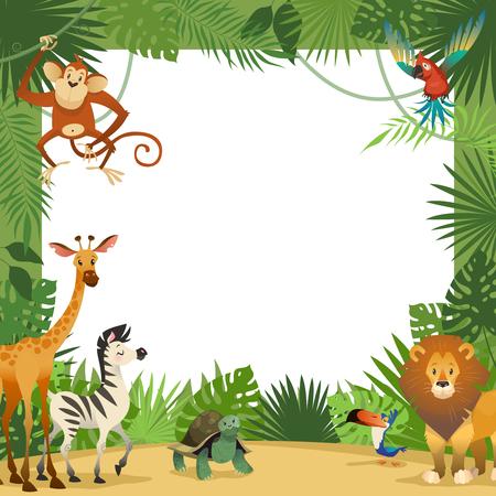 Tarjeta de animales de la selva. Marco animal hojas tropicales saludo bebé banner zoológico frontera plantilla fiesta niños, ilustración vectorial de dibujos animados