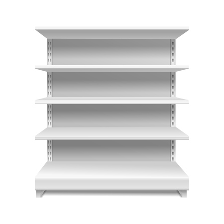 White supermarket shelves. Retail rack shop shelving blank shelves empty showcase store bookcase isolated vector 3d mockup