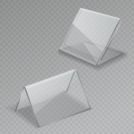 Glass table display. Office blank transparent glass table signs acrylic information clear stand menu frames isolated illustration Vetores