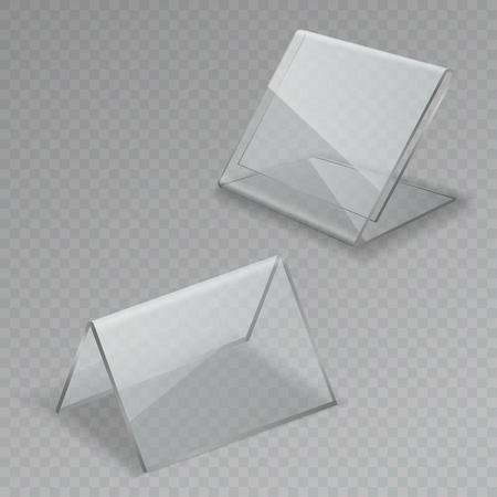Tischdisplay aus Glas. Büro leere transparente Glastischschilder Acrylinformationen klare Standmenürahmen isolierte Illustration Vektorgrafik