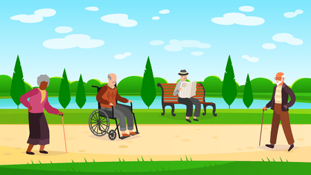 Old people walking park. Outdoors character grandpa grandma walk bench bicycle elderly man woman active pensioner flat vector illustration