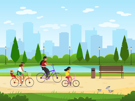 Family cycling. Active family vacation riding bikes lifestyle sport park leisure activities happy group, cartoon vector illustration