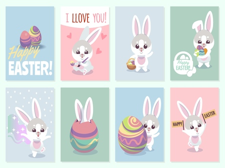 Easter cards. Baby rabbit cute and color eggs party invitation card vector set Ilustracja