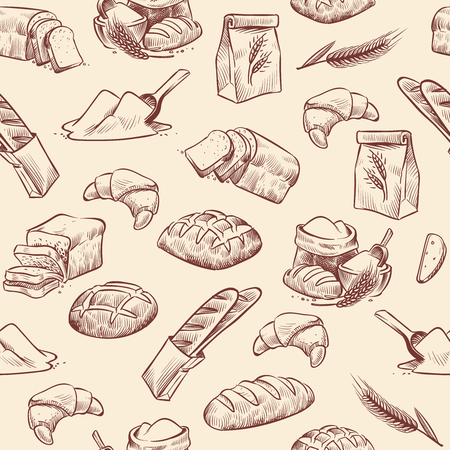 Bakery seamless pattern. Bread croissant pastries pastry wheat loaf sliced white roll drawn vintage sketch, vector background