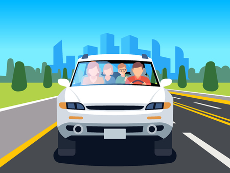 Family driving car. Auto driver father man woman child travel people weekend road landscape nature leisure flat vector illustration