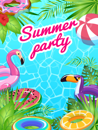 Pool party card. Swim summer inflatable toys poster fun tropical beach flyer lifesaver equipment children sea, cartoon vector banner Illustration