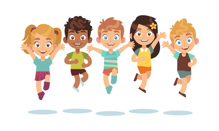 Jumping kids. Cartoon children playing and jump isolated happy active cute surprised kid vector character set