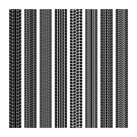Bandensporen. Loopvlak wiel voertuig draad snelheid snelweg motorcross trace auto weg rubber zwart textuur naadloze print set vector patroon