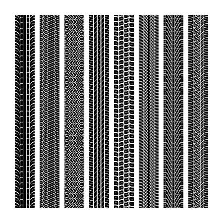 Reifenspuren. Laufrad Fahrzeug Thread Geschwindigkeit Autobahn Motocross Spur Auto Straße Gummi schwarze Textur nahtloser Druck Set Vektormuster