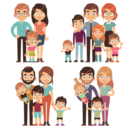 Happy family. Families mother father kid brother sister traditional relationship generation society flat vector character isolated set