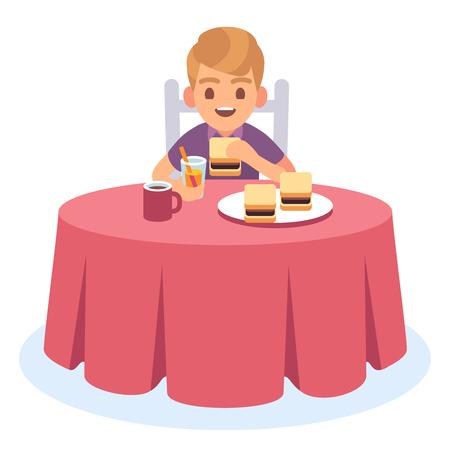 L'enfant mange. Enfant mangeant le déjeuner de dîner de petit déjeuner cuit, assiette de table de garçon affamé de repas de boisson de nourriture de santé, caractère de vecteur de dessin animé