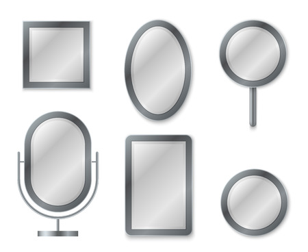 Mirror set. Mirroring reflection surface realistic blank mirrors glass circle decor frame interior decoration vintage vector image