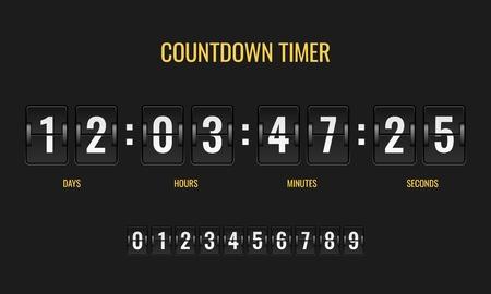 Compte à rebours. Compteur d'informations de compteur de mécanique de montre numérique de tableau de bord de compteur vers le bas le jour d'horloge de comptage de nombre, modèle plat