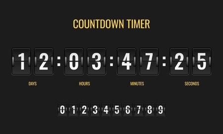 Countdown timer. Meter scoreboard digital watch mechanics counter information down number counting clock day, flat template