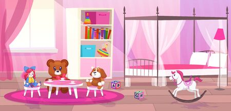 Bed room girl. Child bedroom interior girls apartment toys girly storage decor furniture kid playroom flat cartoon vector illustration Çizim