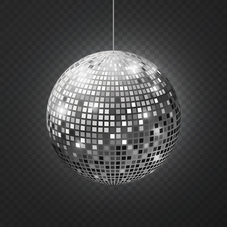 Mirror disco ball. Soffit reflection ball mirrored disco party silver glitter equipment retro halo rays shining mirrorball vector illustration Standard-Bild - 124618570