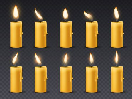 Candle flame animation. Animated candlelight romantic holiday wax burning candles close up warm fire dinner isolated vector set
