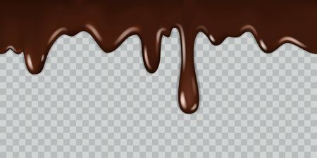 Dripping chocolate. Delicious gourmet chocolate liquid frame syrup cooking melted chocolates bitter with drops isolated illustration