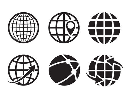 Geo location icons. Pin geography internet global commerce international tourism vector black globe symbols