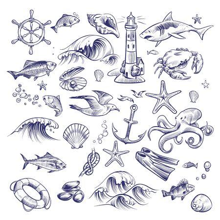 Hand drawn marine set. Sea ocean voyage lighthouse shark crab octopus starfish knot crab shell lifebuoy seagull anchor steering wheel collection