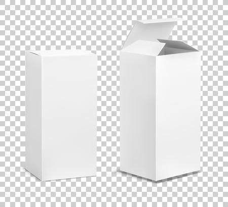 Caja alta vacía. Cajas de cosméticos de cartón, paquete rectangular en blanco con sombras, productos de medicina, envases verticales, maquetas de vectores