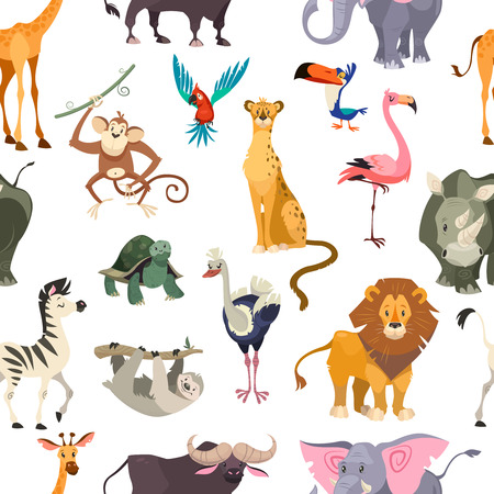 Wild animals seamless pattern. African safari print jungle zoo tropical leaves wallpaper textile cute kid animal flat vector background