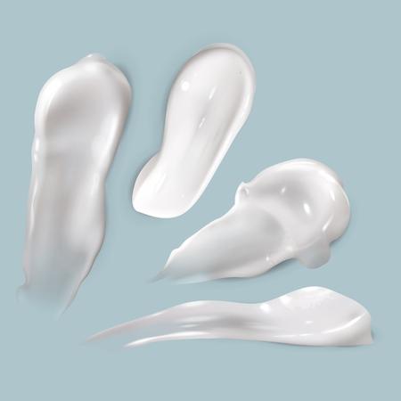 Frotis de crema. Realista cosmética blanca gota cremosa producto para el cuidado de la piel loción gruesa y suave frotis aislado vector textura conjunto