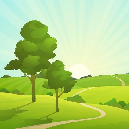 Summer field landscape. Nature hills fields blue sky clouds sun countryside. Green tree and grass rural land. Cartoon vector