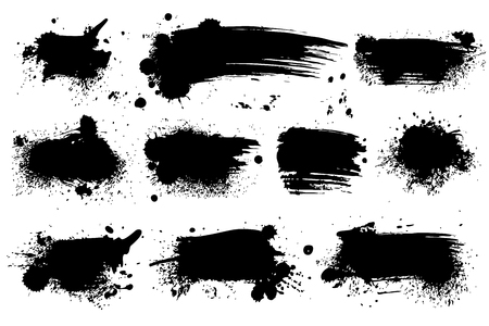 Ink splashes. Black inked splatter dirt stain splattered spray splash with drops blots isolated vector grunge silhouette set