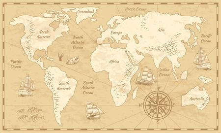 Mapa del mundo vintage. Mapa de papel de la antigüedad del mundo antiguo con continentes océano mar antiguo fondo de vector de vela Ilustración de vector