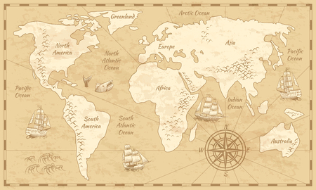 Vintage world map. Ancient world antiquity paper map with continents ocean sea old sailing vector background 스톡 콘텐츠 - 118507812