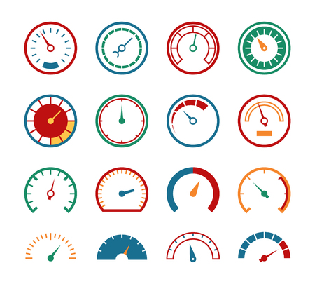 Meter set. Measuring instruments control fuel speedometer pressure barometer dial benchmark tachometer gauge speed, vector icon set