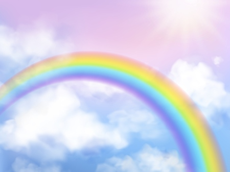 Rainbow sky. Fantasy heaven landscape rainbow in white clouds iridescent girly unicorn background Çizim