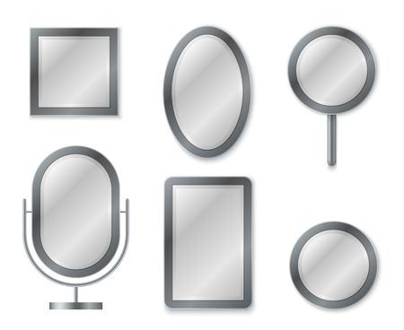 Spiegel-Set. Spiegelung der Reflexionsoberfläche realistische leere Spiegel Glaskreis Dekorrahmen Innendekoration Vintage-Vektorbild Vektorgrafik