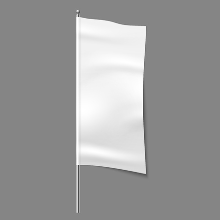 Textile advertising flag. Blank fabric white vertical cloth sign, textile ribbon vector template