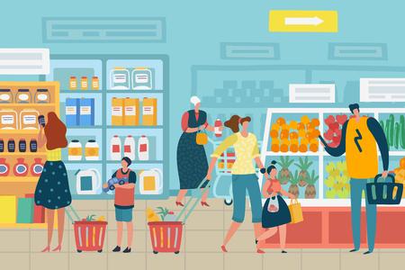 Gente en la tienda. El cliente elige el concepto de vector de venta al por menor interior de la tienda de comestibles del surtido de productos de compras del carro de la familia del supermercado