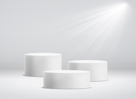 White cylinder template. 3d base stand podium or studio pedestal round platform showroom illustration