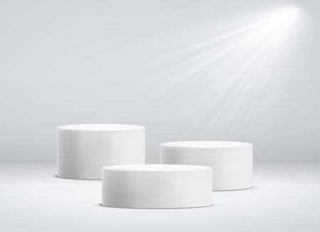 Witte cilinder sjabloon. 3D-base stand podium of studio voetstuk ronde platform showroom illustratie