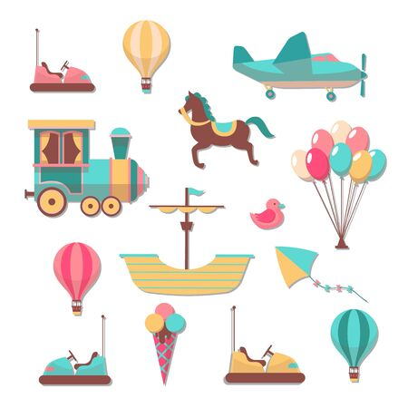 Scrapbooking patches. Fun kid cartoon trendy cute carousels games stickers for scrapbook album and frames vector collection  イラスト・ベクター素材
