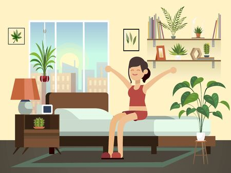 Woman morning. Happy fun young healthy awakening person relax in bed getting up bedroom cartoon illustration
