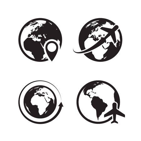 Globe icons set. World earth and globe map pin icon internet global commerce Illusztráció