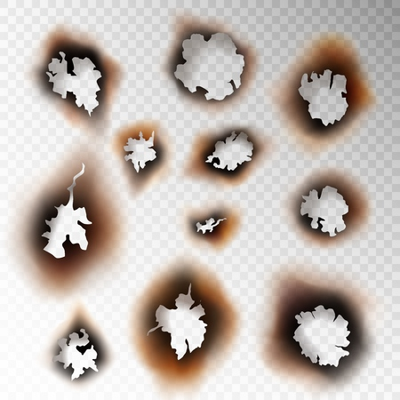 Burnt hole paper. Set scorched piece burn object edge fire ash burning sheet brown damaged holes revival, realistic vector concept