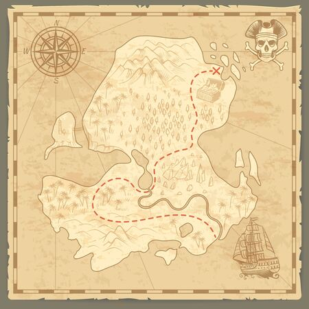 Treasure island map. Retro wallpaper vintage islands map nautical travel background with compass ship adventure pirate concept