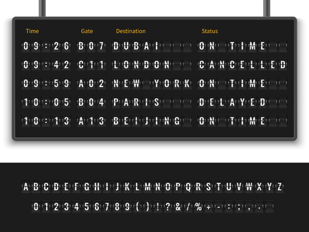 Airport board. Font alphabet info panel arrival departure display timetable destination flight terminal, realistic vector illustration