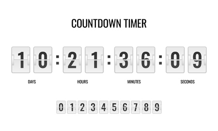 Countdown clock. Counter timer clocks counts day digital down watch numeric minute coming score hour display web page vector template